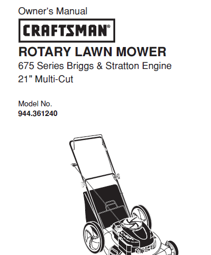 Sears Craftsman Repair Parts Manual Model No. 944.361240, 944361240 944-361240