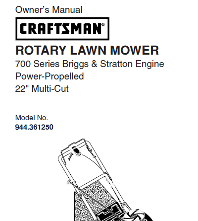 Sears Craftsman Repair Parts Manual Model No. 944.361250, 944361250 944-361250