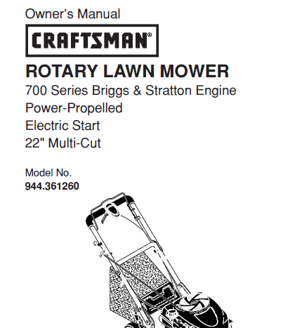 Sears Craftsman Repair Parts Manual Model No. 944.361260, 944361260 944-361260