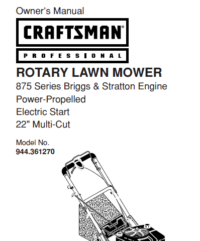 Sears Craftsman Repair Parts Manual Model No. 944.361270, 944361270 944-361270